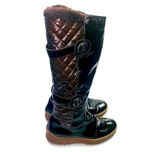 Aquatalia | Patent Leather Quilted Knee High Boots